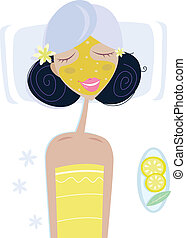 Spa girl with face mask - Illustration of girl with face...