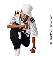 Cool hip-hop young man on white - Cool hip-hop young man...