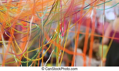 Children Enjoying Colorful Wool - Kids making a colorful net...