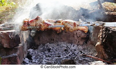 Kebabs with chicken Are Cooked On The Fire - Shashlik, which...