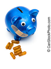 Increasing health care costs - Piggy bank with a bandage...