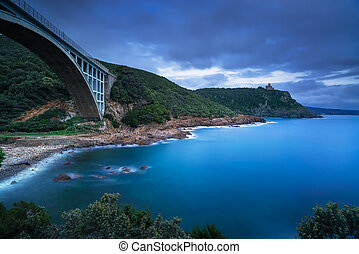 Bridge, cliff and sea. Leghorn coast, Tuscany riviera,...