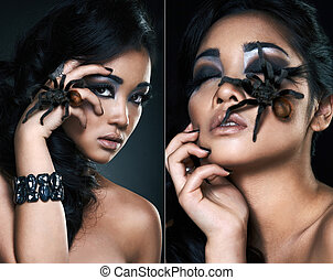 portrait of beautiful asian girl with spider