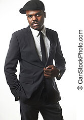 business black man - Portrait of a sexy black man in suit