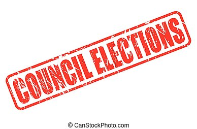 COUNCIL ELECTIONS red stamp text on white
