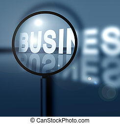 Business success with magnifying glass
