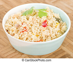 Couscous - Roasted vegetable couscous in a a bowl