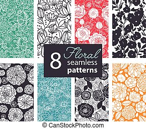 Vector Black White Color Flowers 8 Set Seamless Pattern....