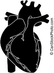 Human heart black color isolated vector illustration