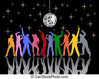 party time - vector illustration of dancing people...