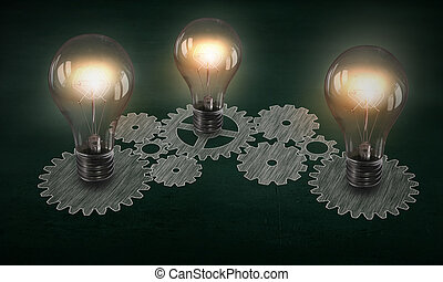 Producing energy - Glowing light bulbs and gears mechanism...