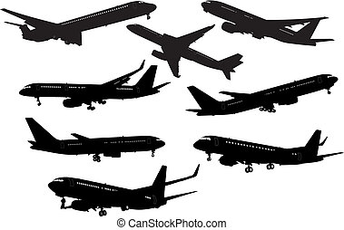 Airplane black and white silhouettes. Vector illustration.