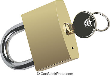 Bronze padlock with key. Vector illustration