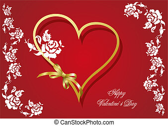 Cover for Valentine`s Day with hearts image. Vector