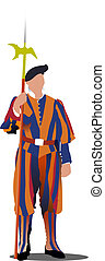 Swiss guard in Vatican. Vector illustration