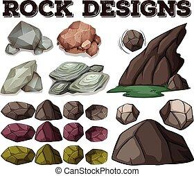 Different kind of rock designs illustration