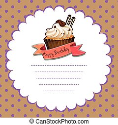 Paper template with cupcake for birthday