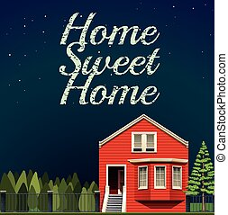 Home sweet home at night illustration