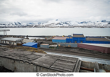 Heavy industry in Barentsburg, Russian settlement in...