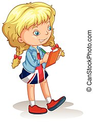 Blond girl writing notes illustration