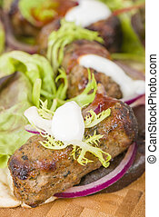 Mint Lamb Kebabs - Lamb Kebabs in Flatbread - Minted minced...