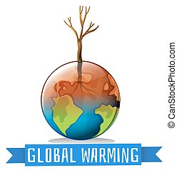 Global warming and sign illustration