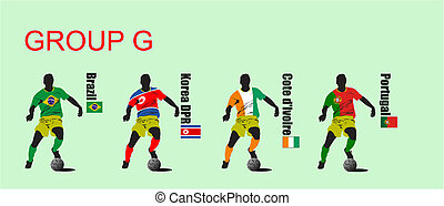 Finals of the World Soccer Cup 2010. 32 teams in T-shirts of...