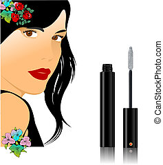 Floral woman silhouette with mascara image. Vector illustration