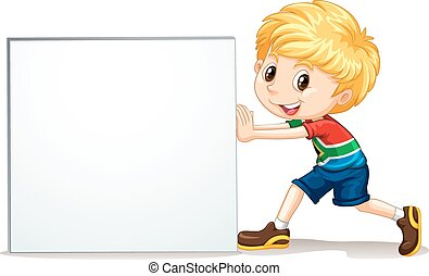 Little boy pushing blank sign illustration