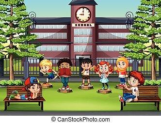 Children at the park in front of school