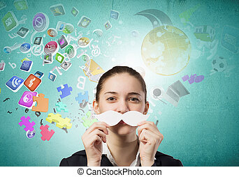 Just like man - Happy cute girl trying male paper mustache
