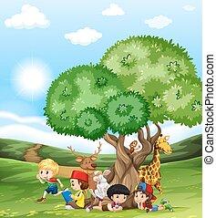 Children and wild animals in the field