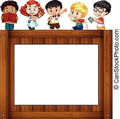 Children standing around the frame illustration