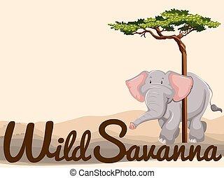 Wild elephant in savanna illustration