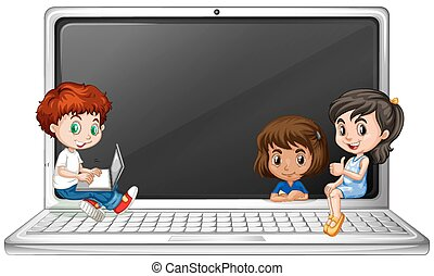 Children and laptop computer illustration