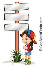 Little girl standing by the road signs