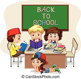 Children doing school work in classroom illustration