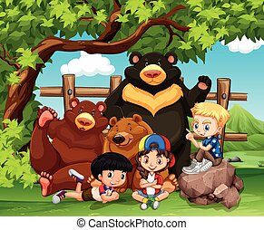 Children and wild bears together illustration