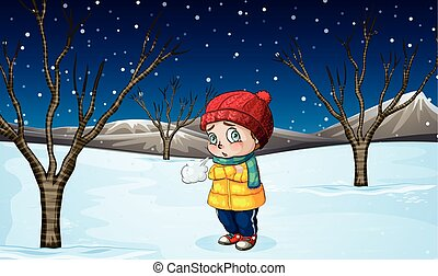 Little girl standing out in the snow illustration