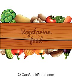 Many vegetables and wooden sign