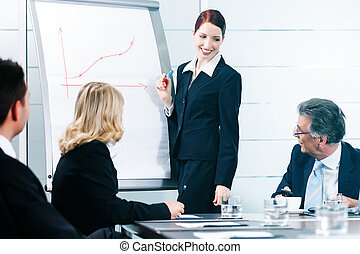 Business - presentation within a team in office, a colleague...
