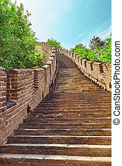 "Stone staircase of Great Wall of China, section ""Mitianyu""...."