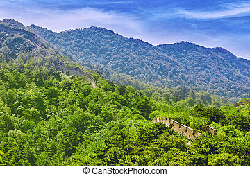 Not restoration view of Great Wall of China, section...