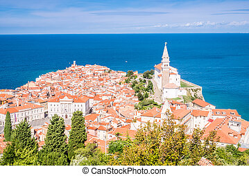Panorama of beautiful Piran, Slovenia - Panorama of...