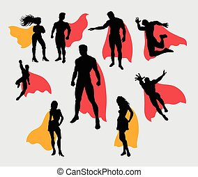 Superman and supergirl silhouettes Good use for symbol,...