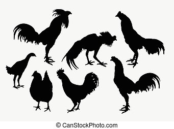 Rooster and hen silhouettes - Rooster, cock, and hen...