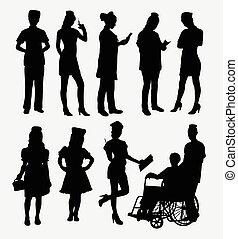 Nurse female silhouettes