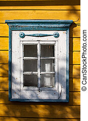 Traditional lithuanian house detail - window with...