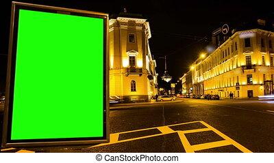 Billboard chromakey St Petersburg Russia timelapse