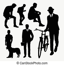 Man action silhouettes